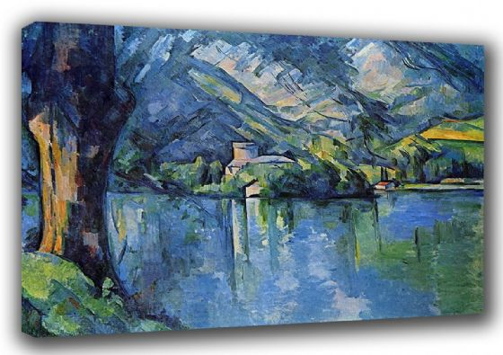 Cezanne, Paul: Lake of Annecy. Fine Art Landscape Canvas. Sizes: A3/A2/A1 (001026)